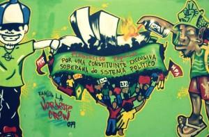 Graffiti produzido pelo Levante Popular da Juventude do Nordeste