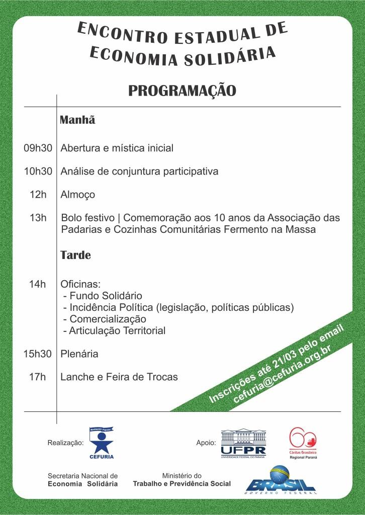 ENCONTRO ESTADUAL DE ECONOMIA SOLIDÁRIA - PROGRAMAÇÃO